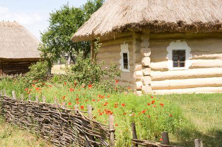amide: Ancient wooden ukrainian house amide the woods