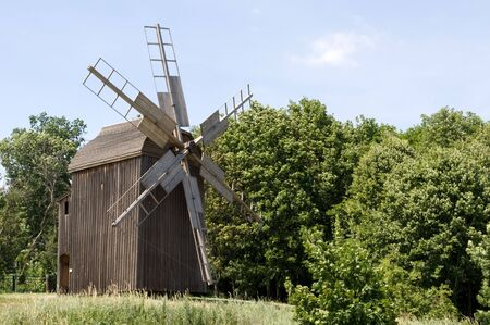 Ancient ukrainian wooden windmill