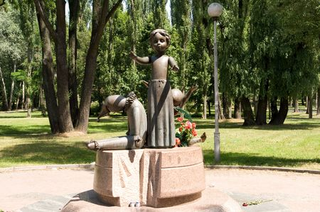 Monument at the shooting of children during the Second World War in Kyiv, Babiy Yar Imagens