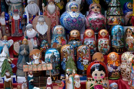 Traditional Russian matryoshka dolls to showcase street trader Stock Photo