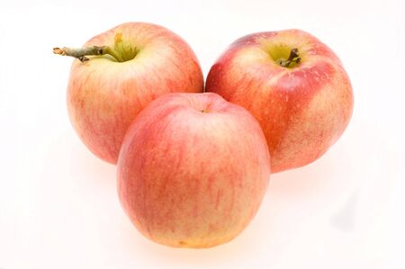 Fresh ripe apples close-up on a white background Stock Photo - 8096958