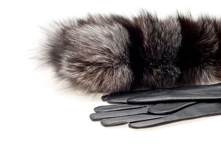 Female fur collar foxes and gloves on a white background