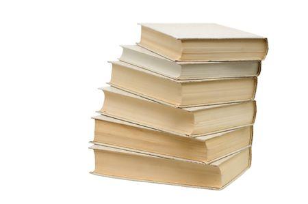6 권의 책은 흰색 배경 근접 촬영에 쌓여 있습니다. 스톡 콘텐츠