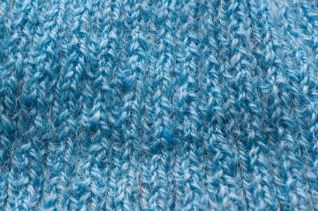Texture background blue manual knitted wool hank closeup Stok Fotoğraf