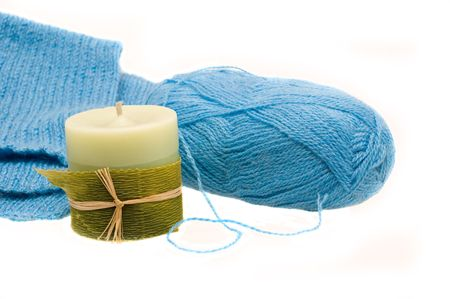 Manual knitting products from blue woolen yarns. Some are worth the candle