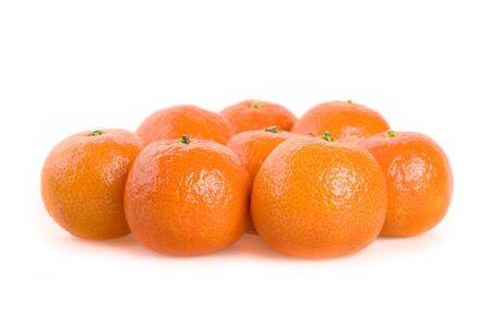 Zoete heldere mandarins op een witte close-up als achtergrond Stockfoto - 8293647