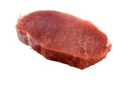 Fresh pork loin chops isolation on a white background closeup