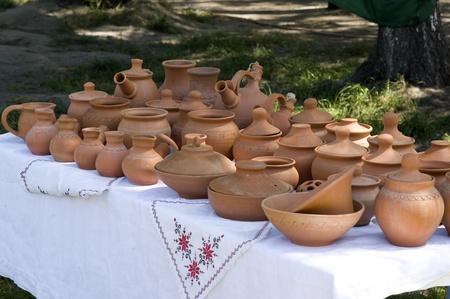 Traditional ukrainian clay tableware on agricultural fair