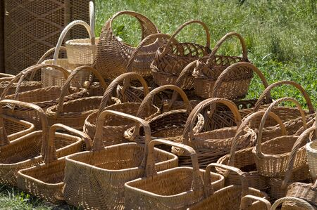 Traditional ukrainian handmade baskets of varying size made by weaving a wooden rod