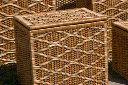 housewares: Housewares from wicker basketry light yellow colour closeup