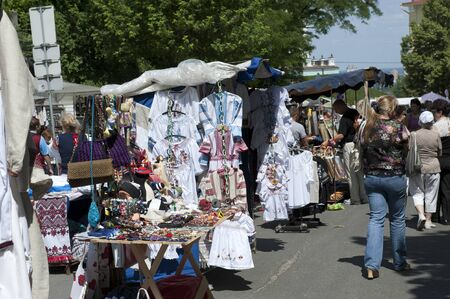 Street trade souvenirs in Kiev on a holiday