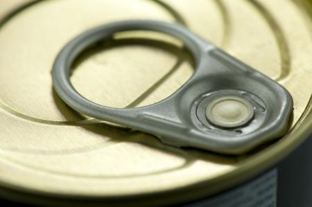 Top cover metal canning jars with the key closeup Banco de Imagens