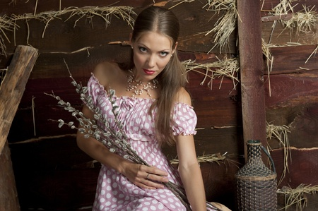 Portrait of an attractive girl in a pink dress with a wooden wall with a straw Stock Photo - 14120944