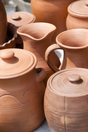 Handmade pottery is sold on the street Banco de Imagens