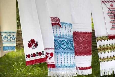 Embroidered decorative Ukrainian traditional towels, hand made