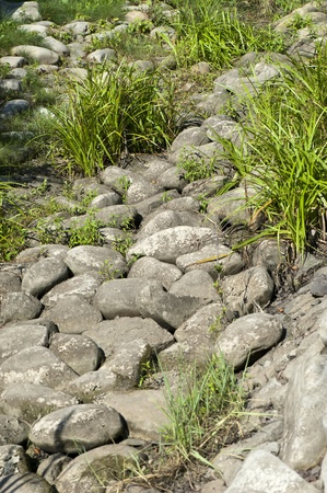 ドライ クリーク ベッド石クローズ アップ晴れた夏の日 写真素材