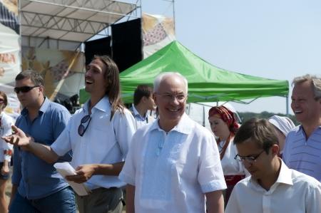 ethnographical: Prime Minister of Ukraine Mykola Azarov at the III International Ethnography Festival in the village of Pirogovo, Kiev region, 04.08.2012 Editorial
