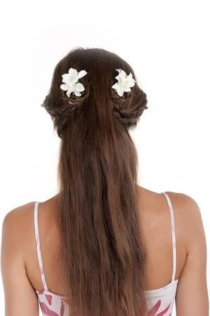 Kapsels voor meisjes met lang haar op een witte achtergrond in de studio, achteraanzicht Stockfoto