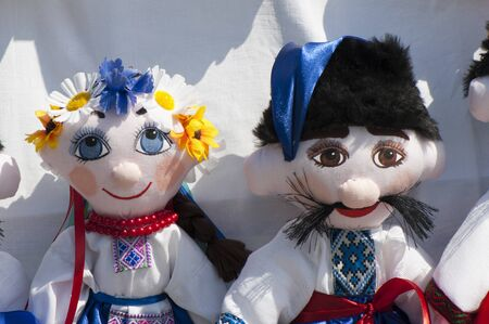 Soft dolls in traditional Ukrainian clothing, closeup