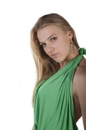 Portret van een jonge aantrekkelijke blonde op een witte achtergrond Stockfoto