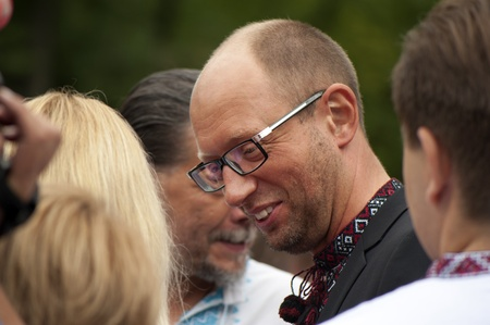 declaration: One of the leaders of the Ukrainian opposition Arseniij Yatseniuk at a rally in independence day of Ukraine in Kiev, August 24, 2013