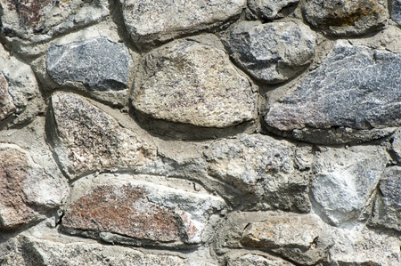 Background of walls, built of grey granite stones close up