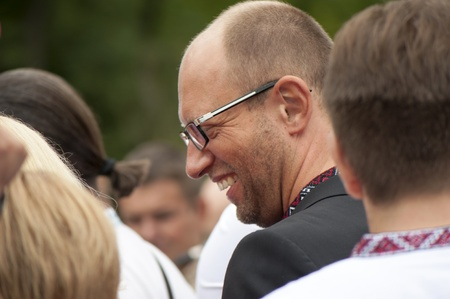 One of the leaders of the Ukrainian opposition Arseniij Yatseniuk at a rally in independence day of Ukraine in Kiev, August 24, 2013