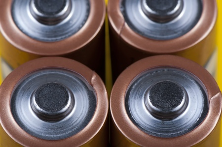 Electric batteries from the positive contact of the close up