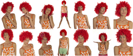 Young beautiful woman in an orange wig on a white background, stack of 14 photos