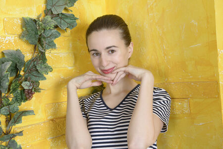 Portrait of a beautiful attractive girl with yellow brick wall Stockfoto