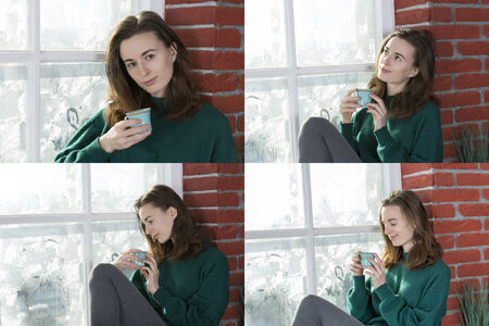 Collage of four portraits of girl with a cup of tea by the winter window
