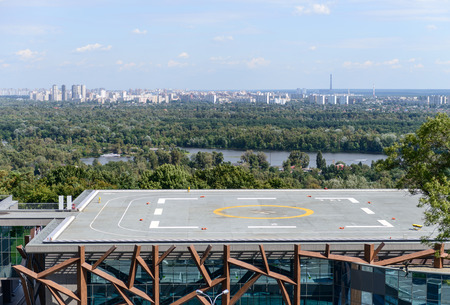 heliport: View of the heliport on the Bank of the Dnieper River in Kiev