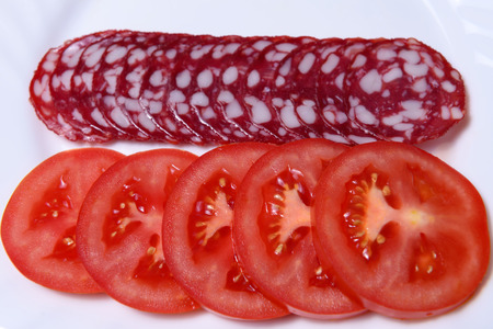 Dry salami and tomatoes on a white plate, closeup