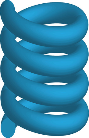 flexible: Illustration of the three-dimensional metallic springs on a white background