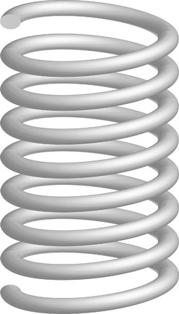 damping: Illustration of the three-dimensional metallic springs on a white background