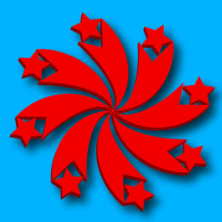 Stylized icon with red stars and curved beams on a blue background Stock fotó - 33982900