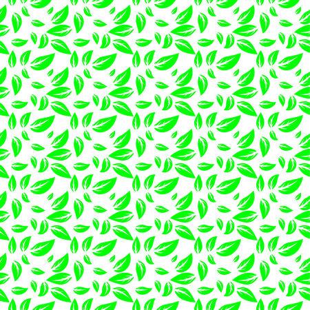 緑の背景、抽象的な背景の様式化された葉  イラスト・ベクター素材