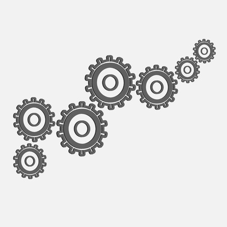 diameters: Abstract vector design of gears of different diameters on a gray background