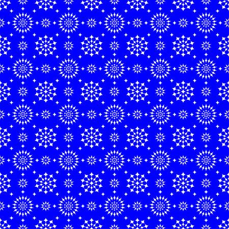 파란색 배경에 흰색 별 추상 원활한 패턴 일러스트