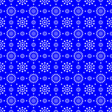 Abstract seamless pattern of white stars on a blue background