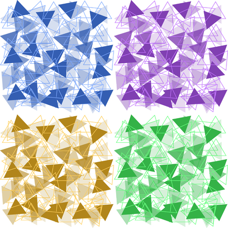 Set of backgrounds of colored colored triangles in one tone Иллюстрация