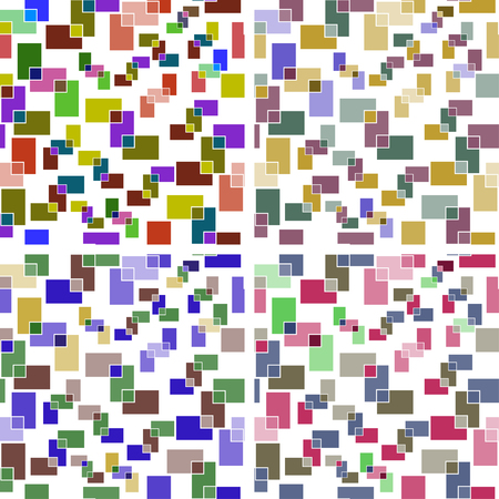 Set of seamless backgrounds of colored rectangles on white