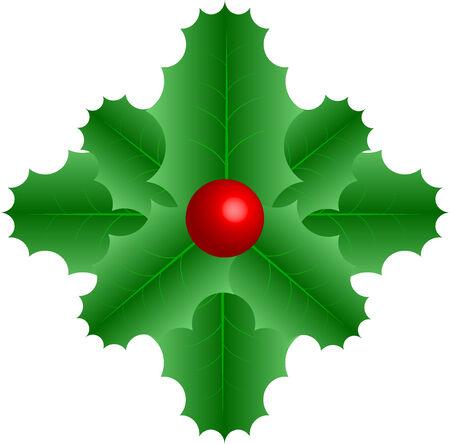 Symbolische vector grafisch groen blad met rode bessen