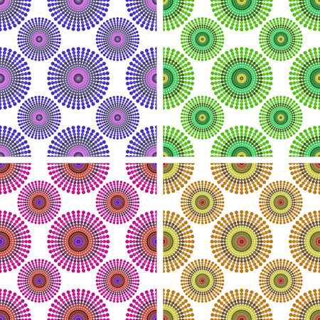 line drawings: Set of backgrounds of seamless pattern with colored circles