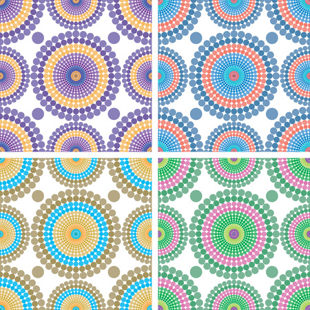 Set of backgrounds of seamless pattern with colored circles
