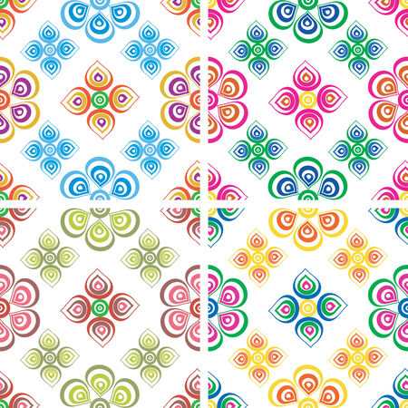 Set of seamless color patterns of the duplicate shapes on a white background