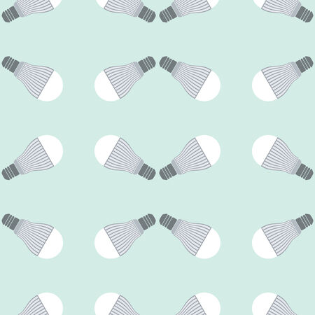 led: Seamless pattern of led bulbs on green background Illustration