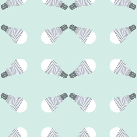 led: Seamless pattern of led bulbs on green background Illustration