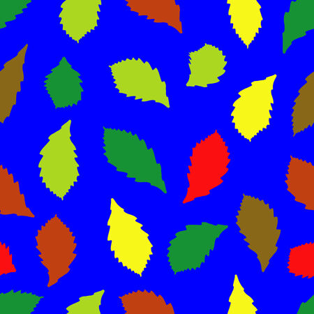joyous life: Seamless pattern of green, red and yellow leaves on a blue background