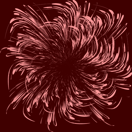 Abstract vector graphics on a red background, symbolizing cosmic movement